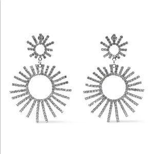KENNETH JAY LANE Siver-tone crystal earrings